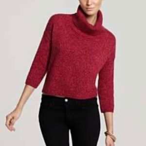 Theory Wool Turtleneck Cropped Sweater Magenta S